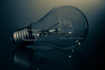 Clear light bulb lay on its side in darkness