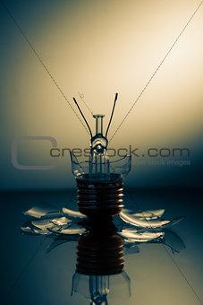 Clear light bulb broken