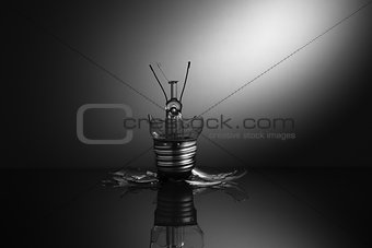 Clear light bulb shattered