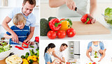 Collage of people preparing vegetables