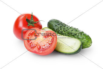 sliced tomato and cucumber