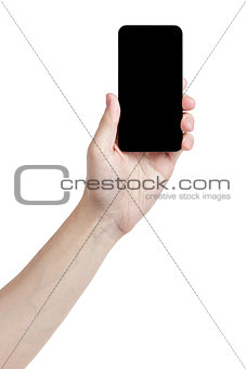 adult man hand holding generic touch device