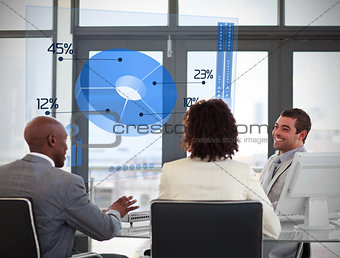 Smiling business people using blue pie chart on futuristic interface