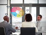 Smiling business people using colorful pie chart on futuristic interface
