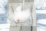 Businessman using transparent futuristic interface
