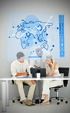 Three business people using blue map diagram interface