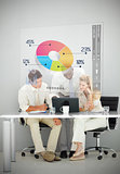 Three business people using colorful pie chart interface
