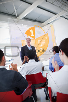 Business people clapping stakeholder standing in front of yellow pie chart interface