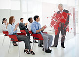 Business people clapping stakeholder standing in front of red map diagram interface