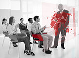 Business people clapping stakeholder standing in front of red map futuristic interface