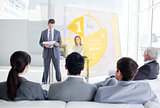 Business people listening and looking at yellow pie chart interface