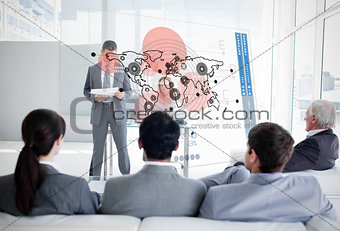 Business people listening and looking at map diagram interface