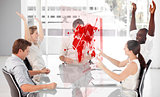 Cheerful business workers using red map diagram interface