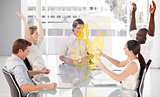 Cheerful business workers using yellow pie chart interface