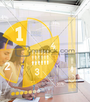 Group of colleagues using yellow pie chart interface