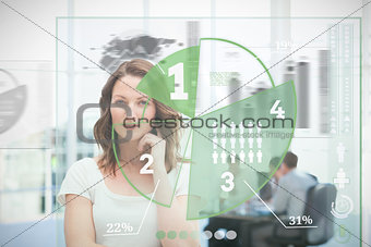 Blonde businesswoman using green pie chart interface