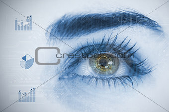 Close up of woman eye analyzing chart interfaces