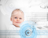 Portrait of a cute baby in the middle of futuristic interface