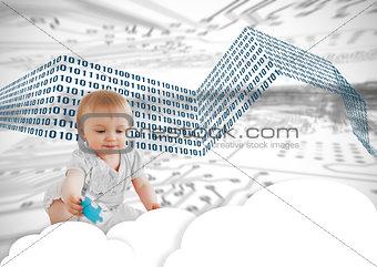 Baby sitting in cloud with jigsaw piece futuristic background