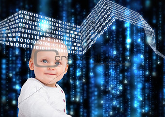 Portrait of baby with matrix background