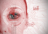 Close up of woman eye analyzing chart interface with circuit board background