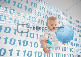 Blue binary codes floating around a baby with a blue planet