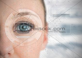 Close up of woman eye analyzing charts