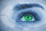 Close up of woman eye over futuristic interface