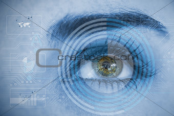 Close up of woman eye analyzing circuit board and chart interfaces