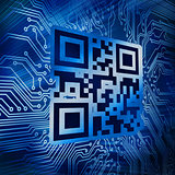 Qr code standing in front of circuit board