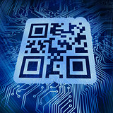Qr code standing in front of futuristic background
