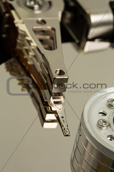 Close up of a disk drive