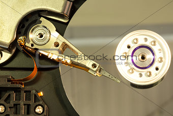 Close up of spindle of disk drive
