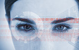 Portrait of an attractive woman with binary code
