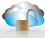 Unlocked padlock and clouds