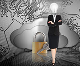 Businesswoman with lightbulb head and padlock