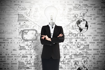 Businesswoman and light bulb