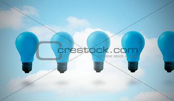 Five blue light bulbs