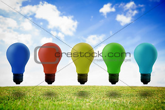 Five colored light bulb in the air