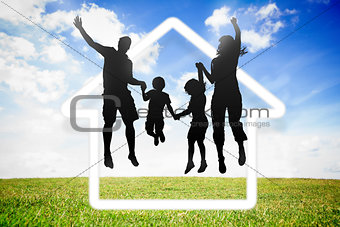 Black silhouette of family jumping