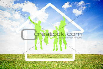 Green silhouette of family jumping
