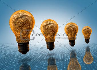 Four light bulbs in row
