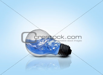 Blue water inside light bulb