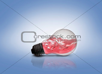 Light bulb with red water inside