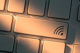 Keyboard with close up on wifi button