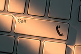 Keyboard with close up on call button