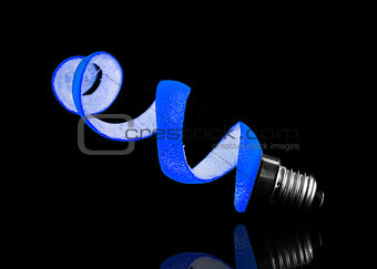 Blue peel and light bulb