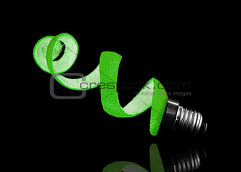 Green peel and light bulb