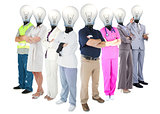 Different workers with light bulb heads