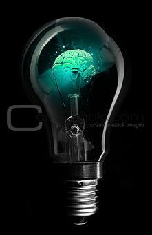 Blue brain inside light bulb